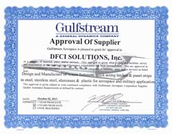 Gulfstream Approval Certificate